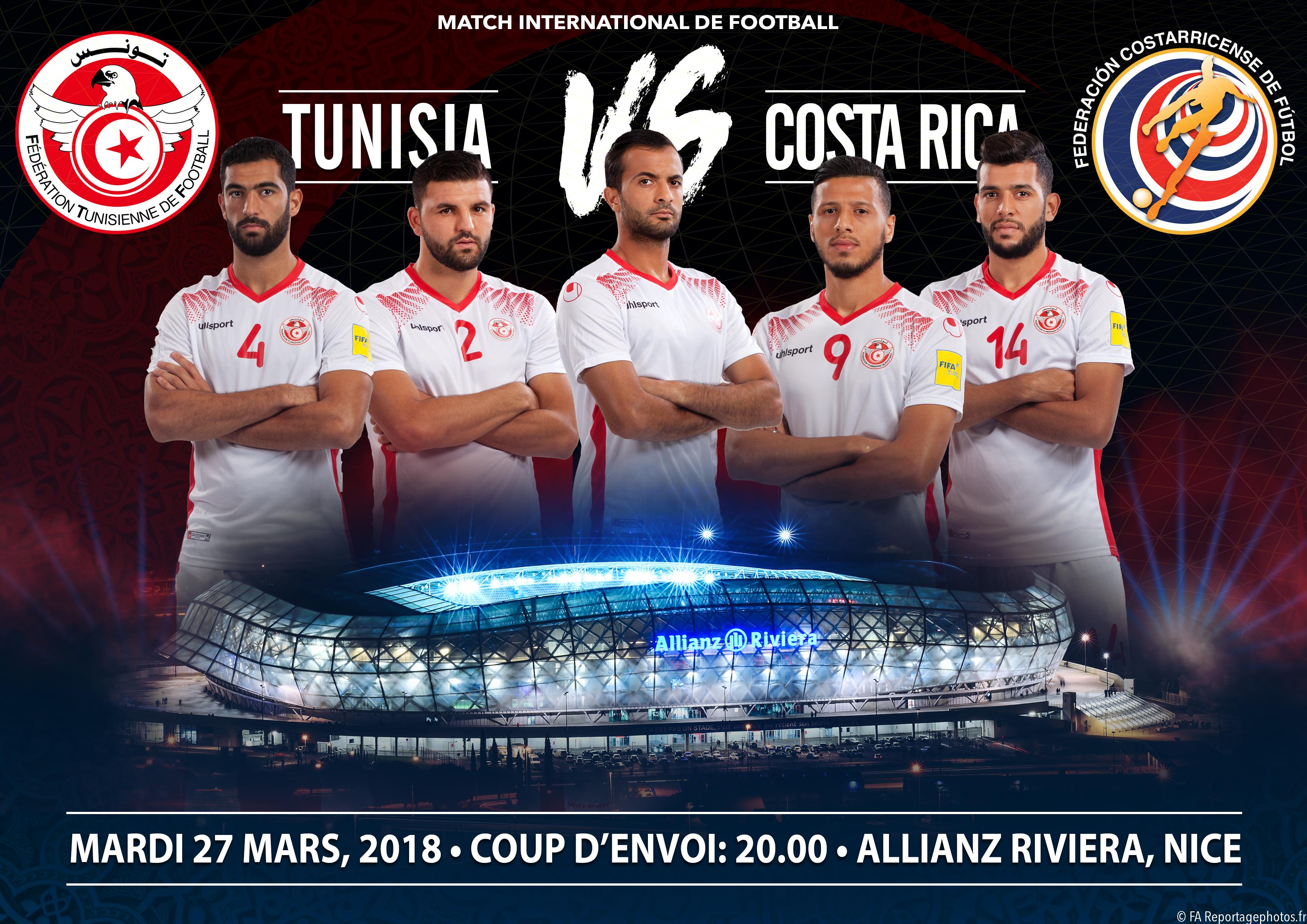 Match amical Tunisie Costa Rica à Nice en France, détails de la vente des billets, selon la FTF